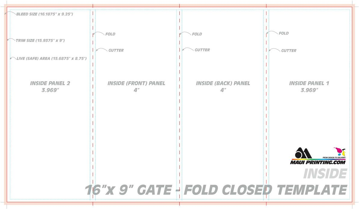 Maui Printing Company Inc 16 9 Gate Fold Brochure 4 Template With Quad Fold Broc...