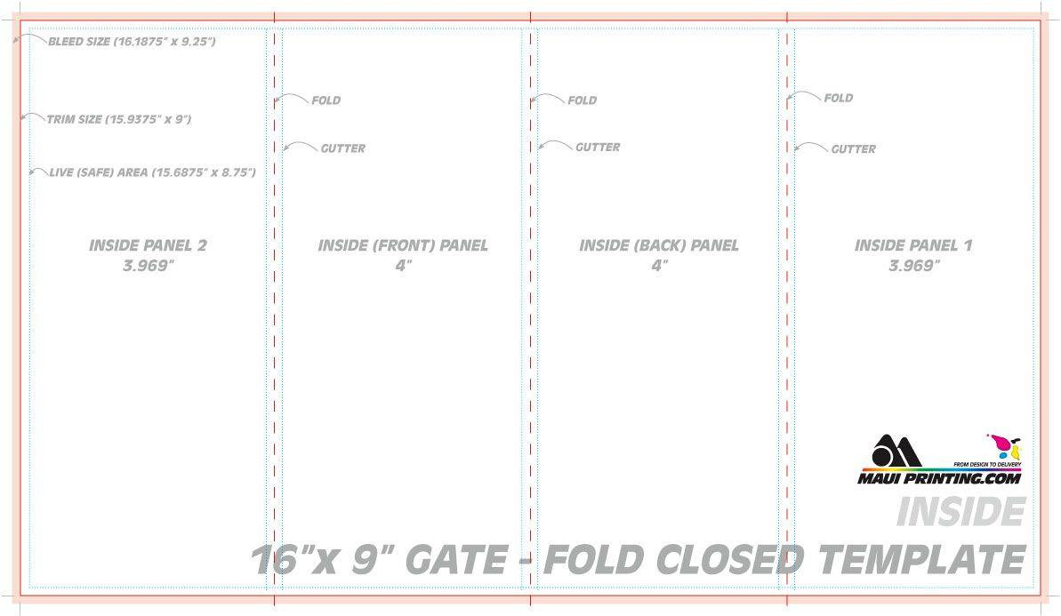 Maui Printing Company Inc 16 9 Gate Fold Brochure 4 Template With Quad Fold Brochure Template Brochure Template Free Brochure Template Brochure Design Template