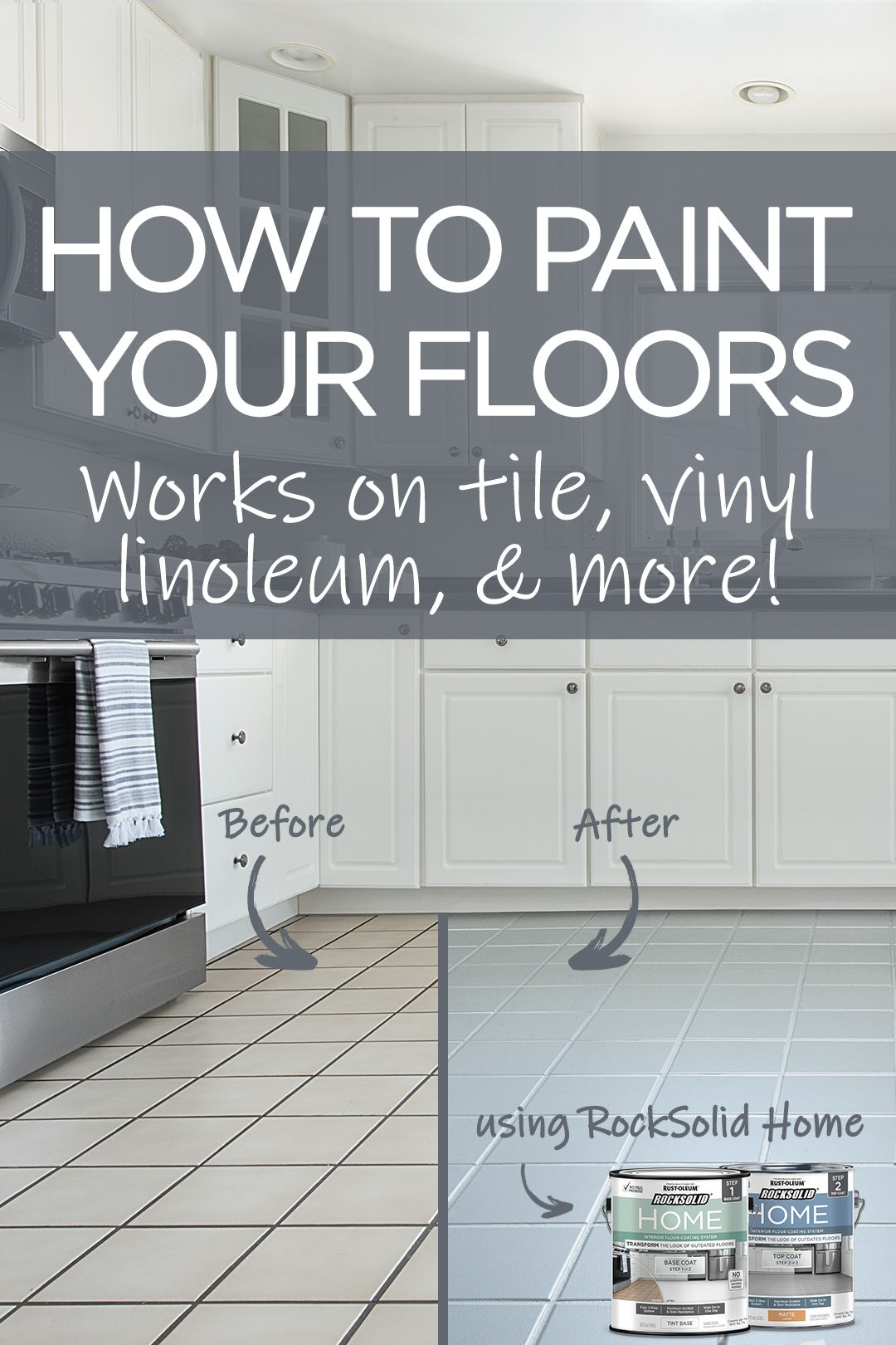 Transform The Look Of Your Kitchen In A Day By Painting Your Floor This Inexpensive Diy Floor Painting Project Saves Y Diy Flooring Home Decor Home Renovation