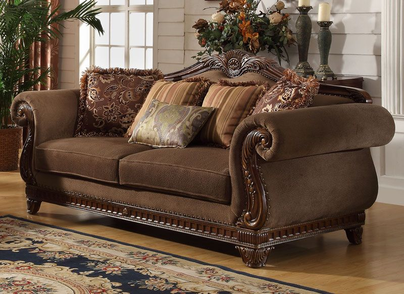 Odessa Traditional Brown Wood Trim Chenille Sofa Couch Loveseat Living Room Set Ifd Furnishing Brown Living Room Loveseat Living Room Brown Walls Living Room