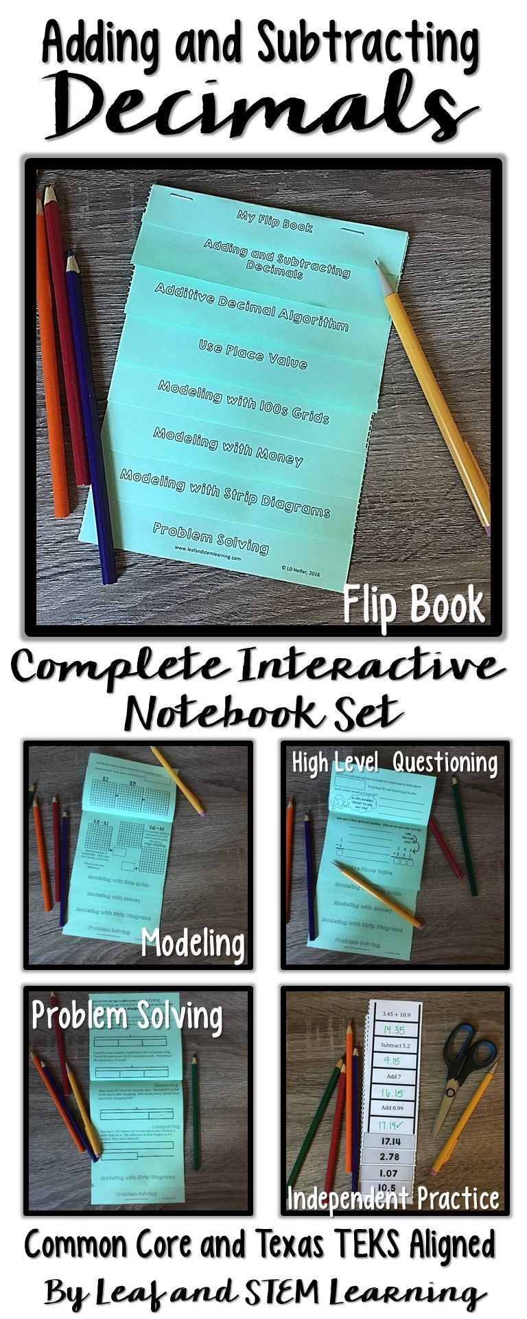 Adding and Subtracting Decimals Interactive Notebook Set | Flip ...