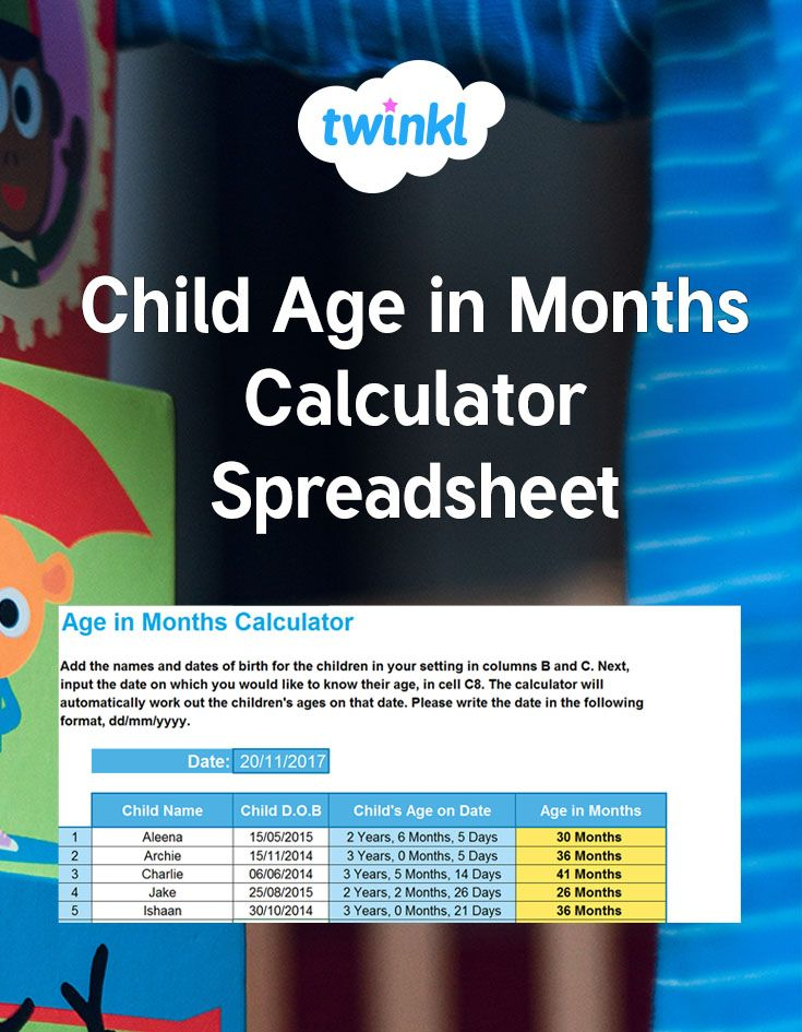 Use this helpful calculator to work out the ages of the children in your EYFS setting in months. Simply input their birthdates and the date on which you wish to know their age and the spreadsheet calculator will work it out for you #earlyyears