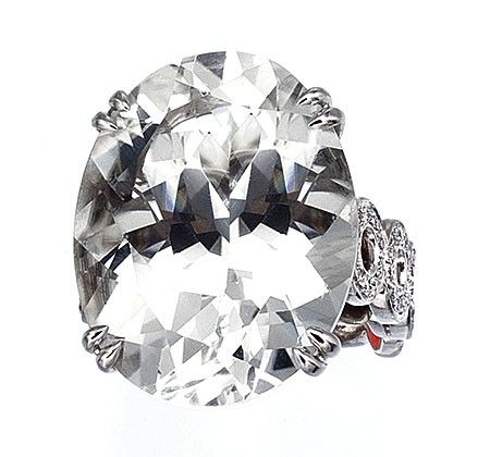 Ivanka Trump ring in 18k white gold with oval shape rock crystal and diamonds