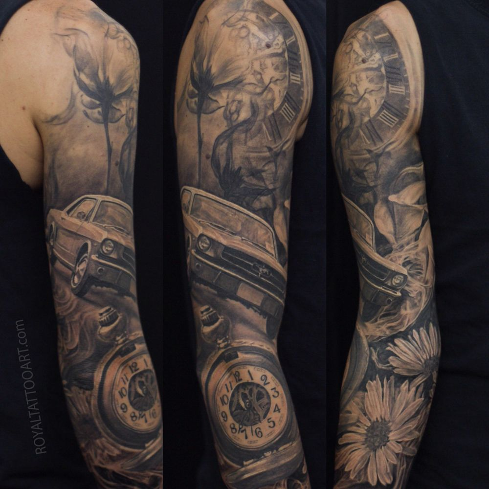 Sleeve Tattoo Artist: Mustang_Pocket_Watch_time_detroit_nyc_sleeve_tattoo_flower