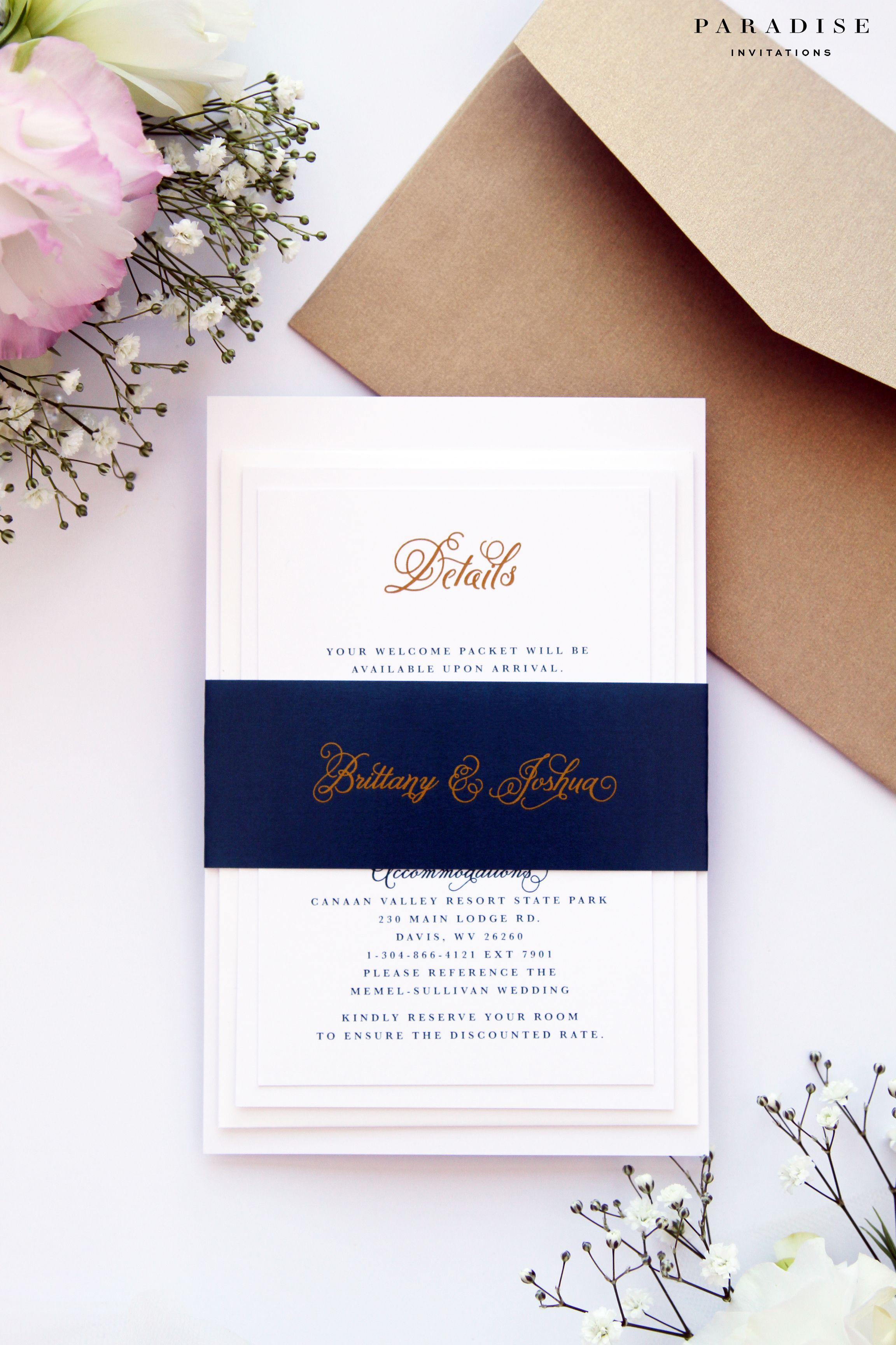 Brianna Midnight Blue and Gold Wedding Invitation Sets, Modern ...
