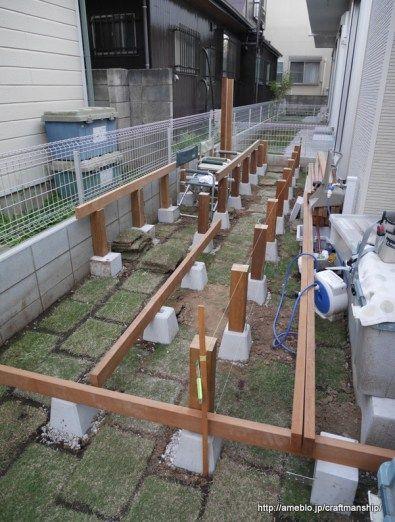 ウッドデッキをdiy 肝心な基礎作りはコレ ウッドデッキ 庭 収納