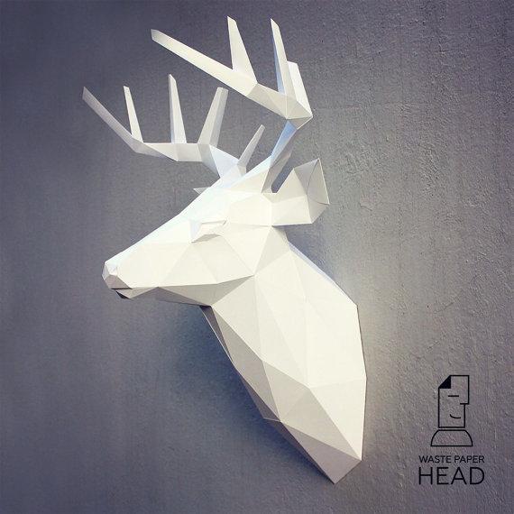 Papercraft deer head 3 - printable DIY template   Papercraft ...