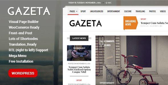 Gazeta - Responsive Magazine WordPress Theme | Wordpress, Wordpress ...
