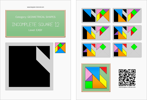 Tangram worksheet 244 : Incomplete square 12 - This worksheet is available for free download at https://www.tangram-channel.com