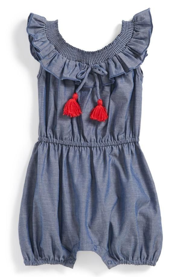 c88d54bb5 egg by susan lazar Chambray Romper Baby Girls ...
