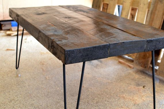 Industrial Rustic Coffee Table Made From Salvaged Barnwood With Black Hairpin Legs On Etsy