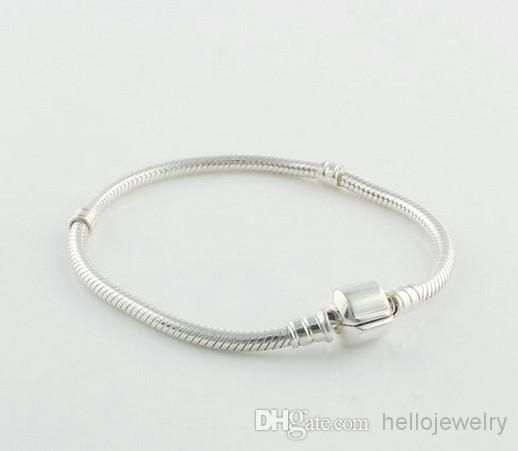 3mm 925 Silver Plated Bracelet Chain with Barrel Clasp Fit European Beads for pandora
