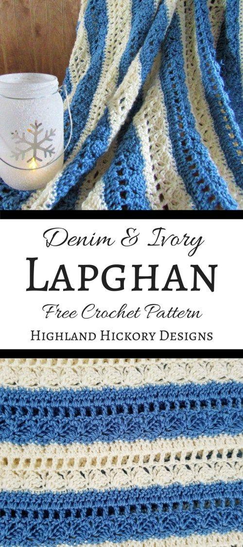 Denim & Ivory Lapghan | Ganchillo, Mantas de ganchillo y Bordes de ...