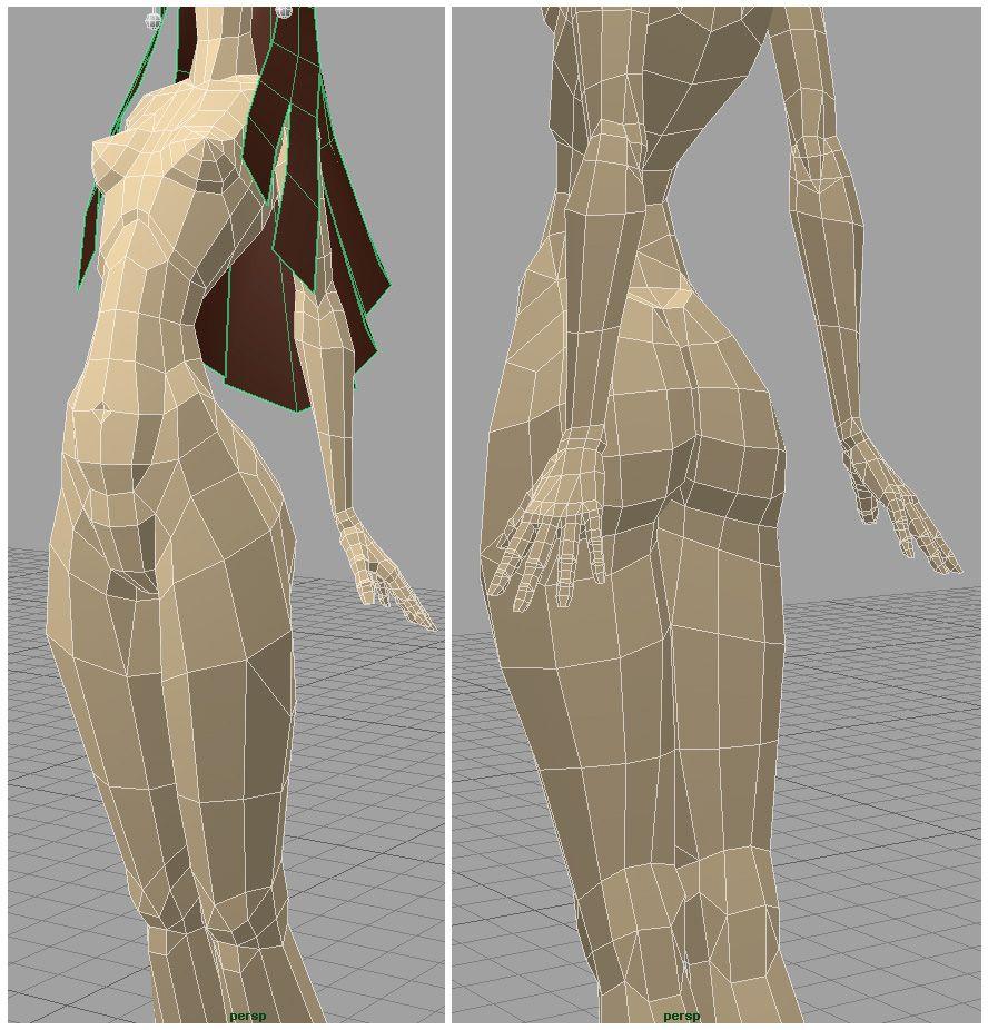 CGTalk ..pinup girl Model, Low poly models, 3d model