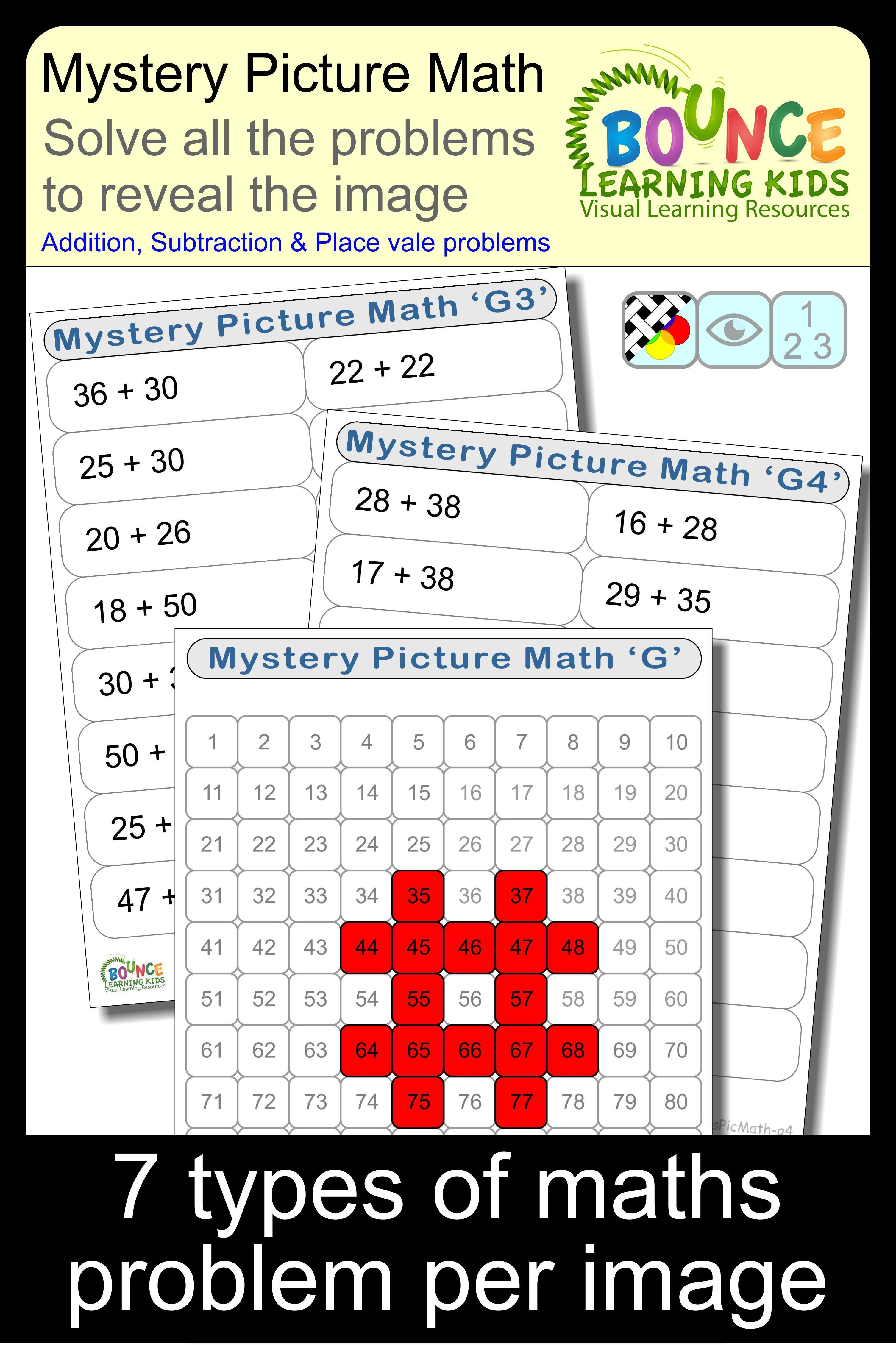 Solve The Maths Problems On Each Worksheet The Resulting Number From Each Maths Problem Is Then Filled In On A Math Mystery Picture Math Learning Worksheets [ 4518 x 3010 Pixel ]