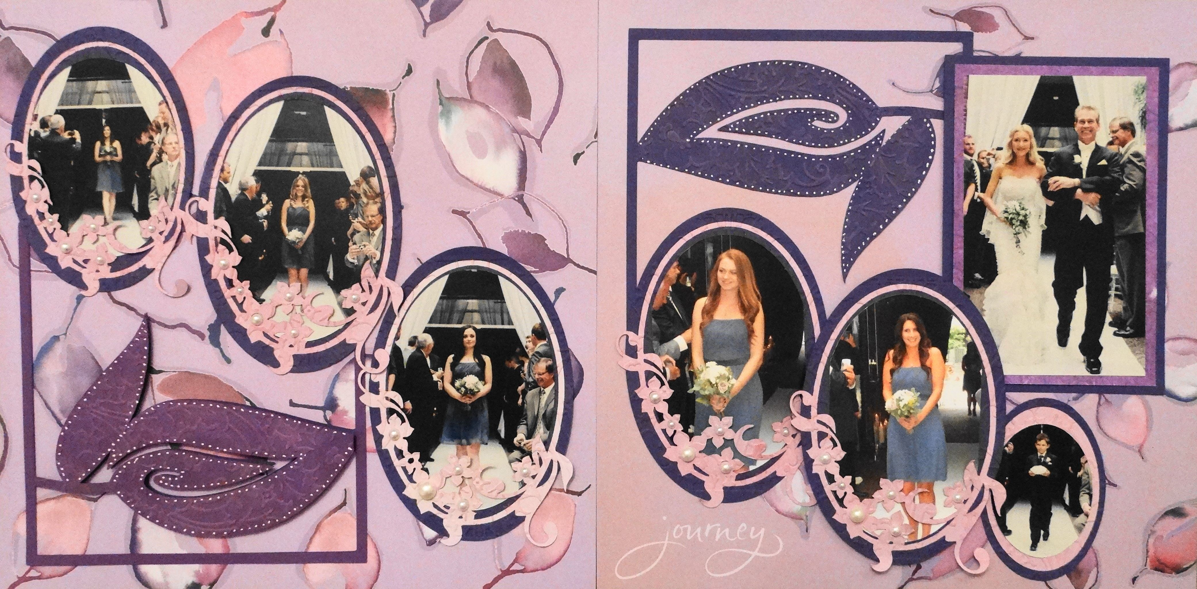 Wedding scrapbook ideas using cricut - Wedding Scrapbook Page With Large Leaf Cards From Cricut Cartridge Lyrical Letters From Wedding Album 4