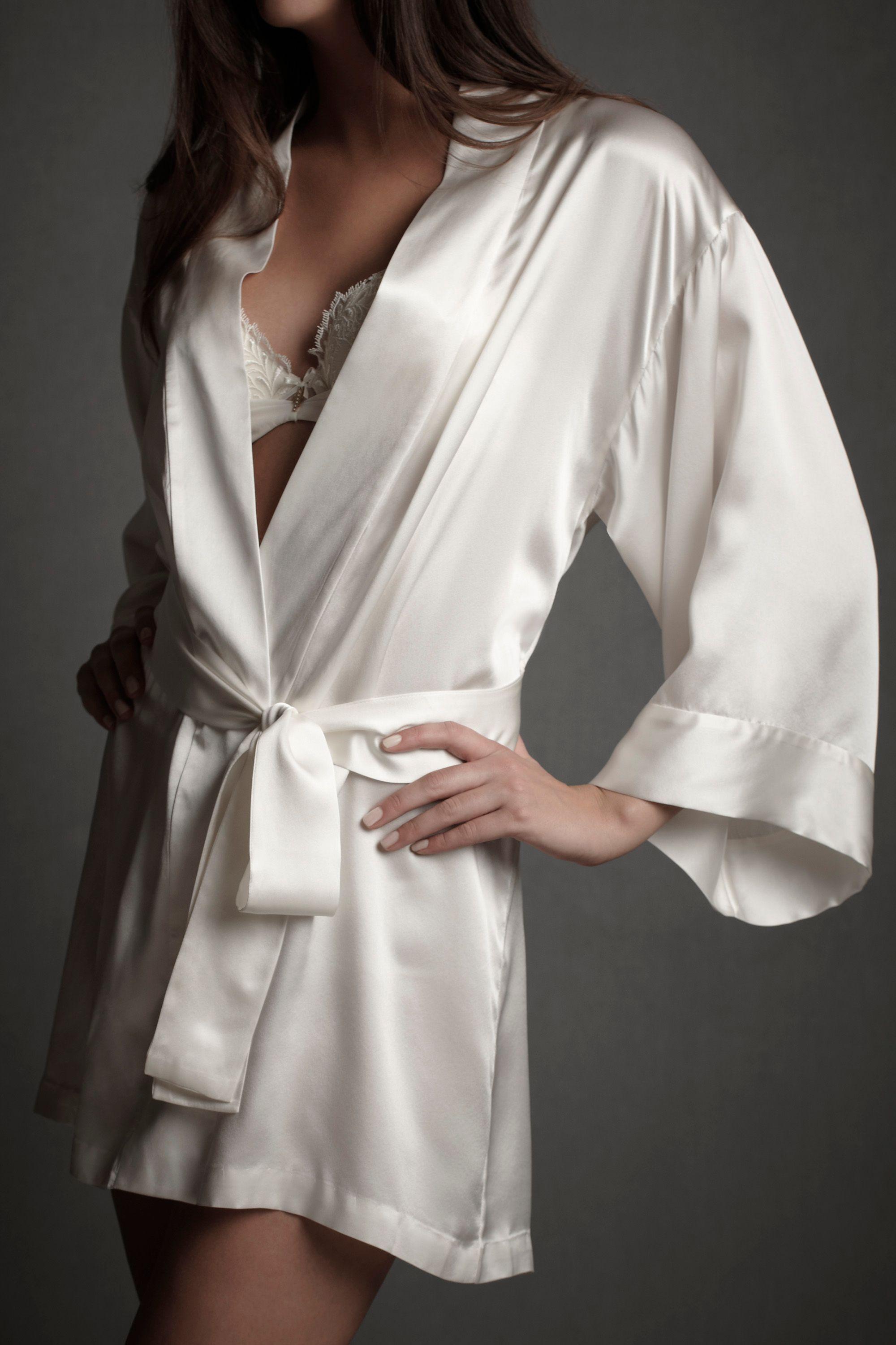 Lingerie Inspiration Silk white short robe intimates silk