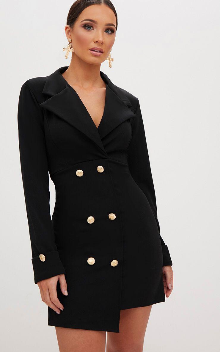 Black Gold Button Detail Blazer Dress Blazer Dress Red Blazer Dress Tuxedo Dress [ 1180 x 740 Pixel ]