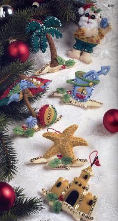 Coolin It Beach Santa Felt Christmas Ornaments Felt Christmas