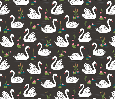 Swans fabric by caja_design on Spoonflower - custom fabric