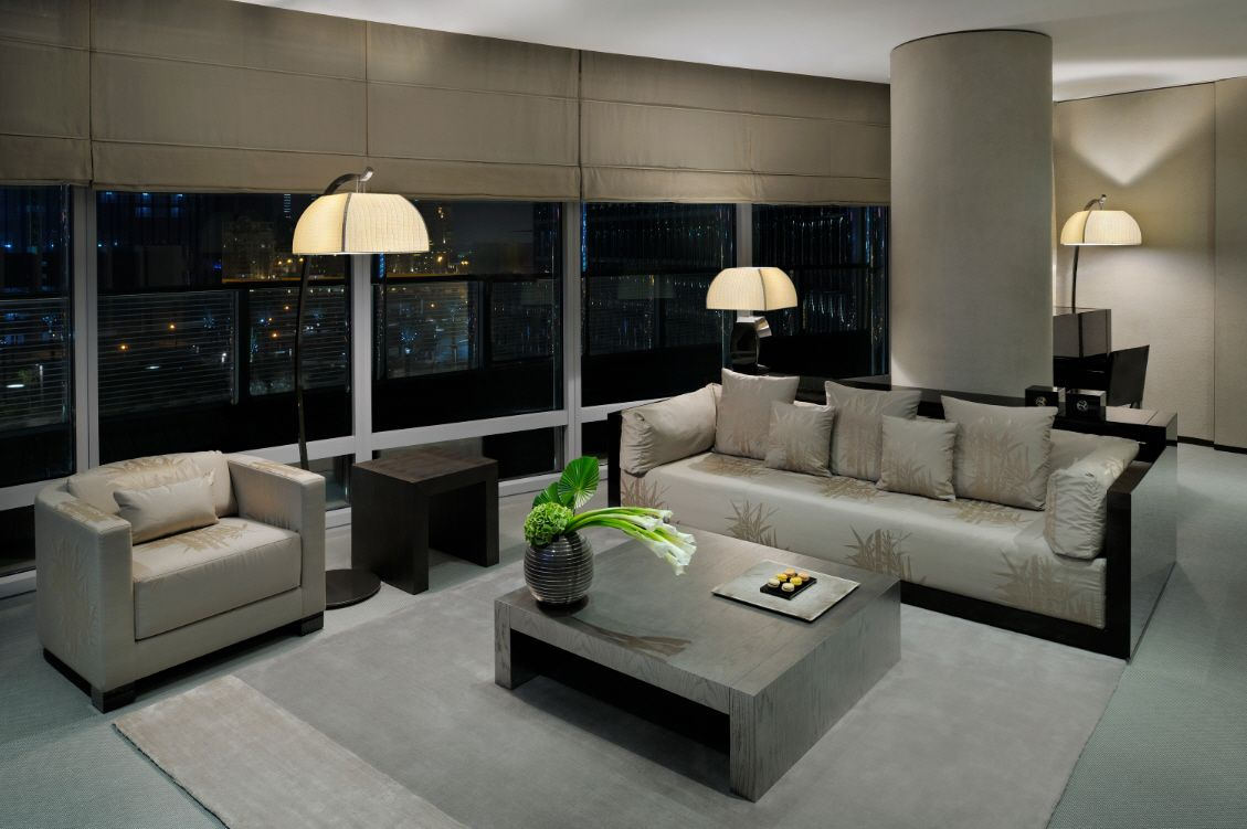 Cheerful Design Wonderful Living Suite With Chic Gray And Blue Rug Also Modern Long Sofa