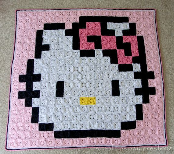 Ready to Ship--Crochet 8-Bit Pixel Art Throw Blanket--Sweet Kitty ...