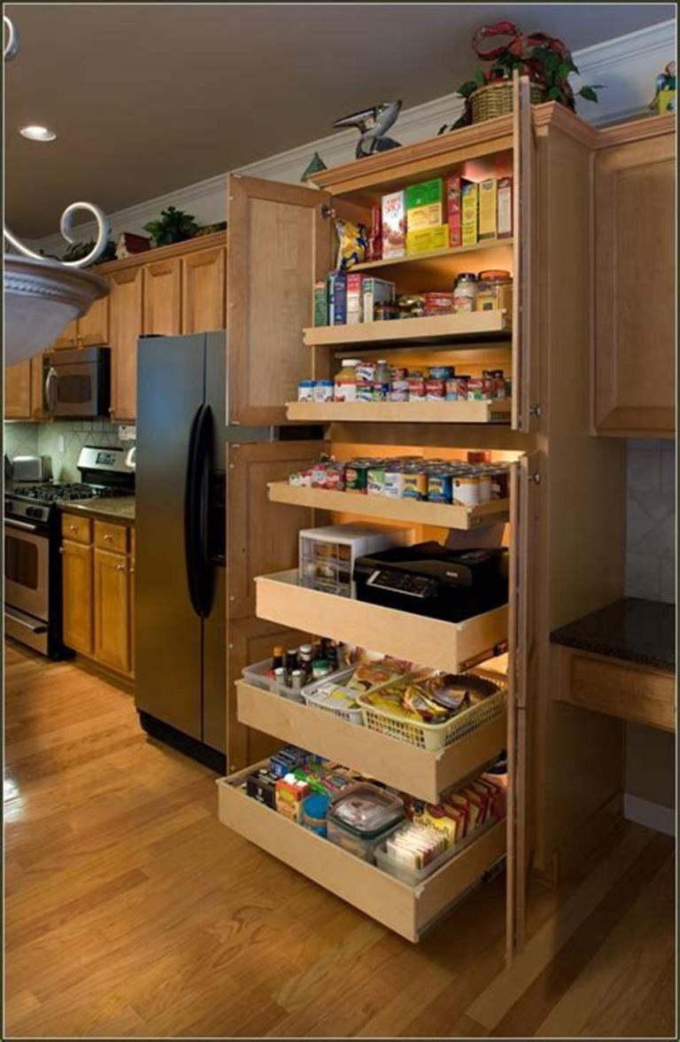40 Diy Ideas Kitchen Cabinet Organizers Homenthusiastic Kitchen Pantry Storage Cabinet Kitchen Cabinet Design Kitchen Pantry Cabinets