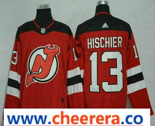 548d8cce1 Men s New Jersey Devils  13 Nico Hischier Red 2017-2018 Hockey Stitched NHL  Jersey
