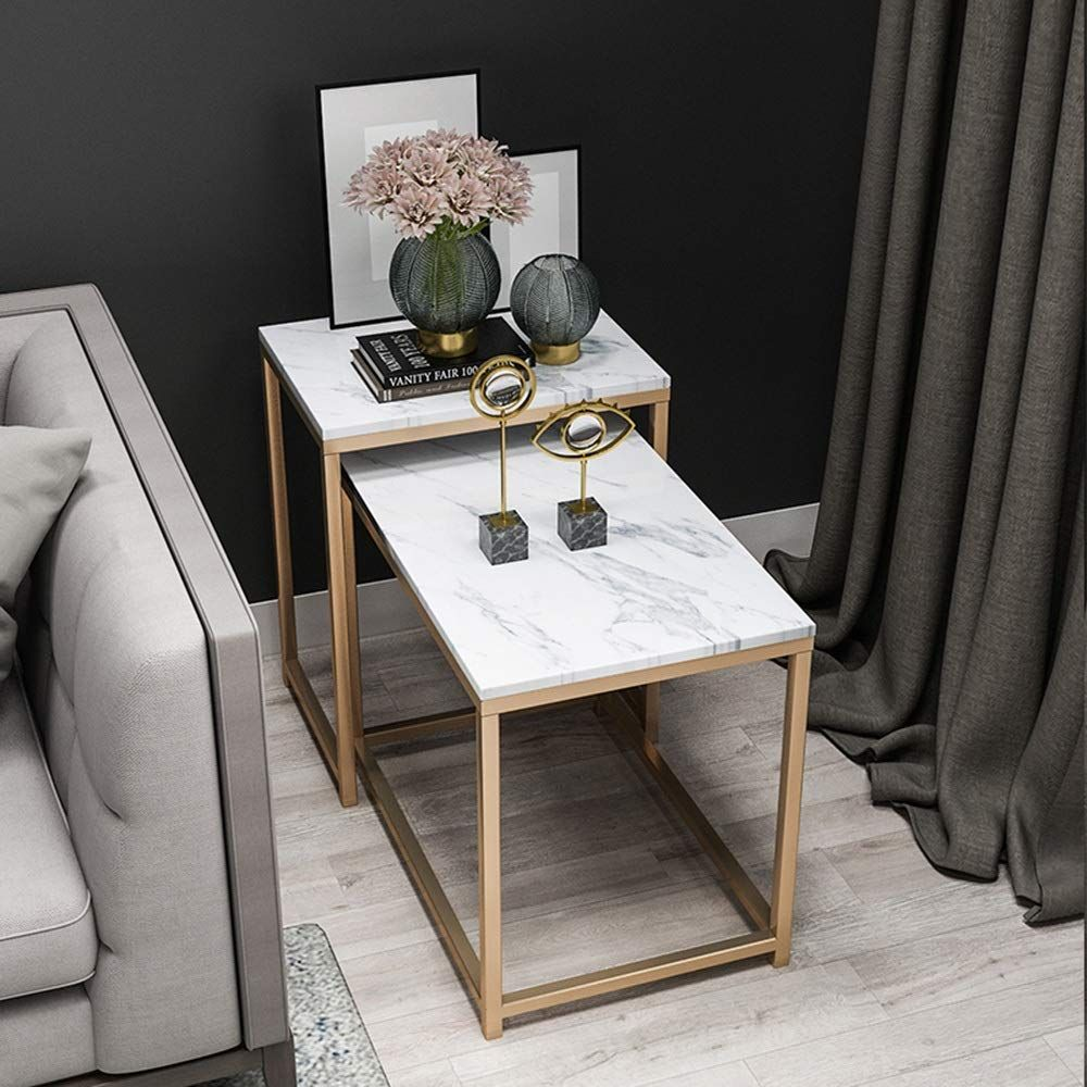 Hairong Wrought Iron Side End Table Marble Top Coffee ...