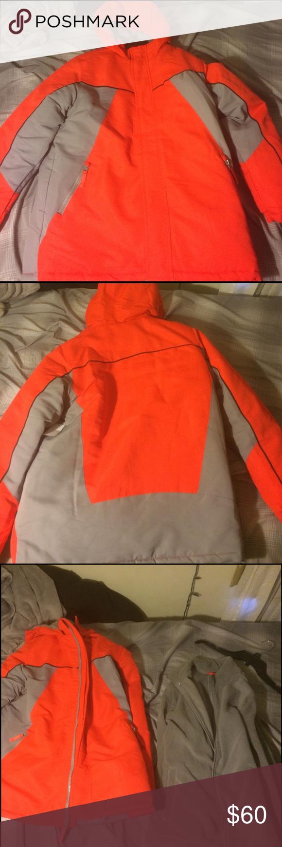 Heavy coat nwt gray jacket winter time and orange grey