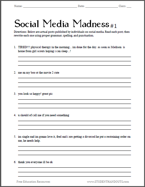 Social Media Madness Grammar Worksheet #1 Student Handouts School  Worksheets, Homeschool Worksheets, Teaching Grammar