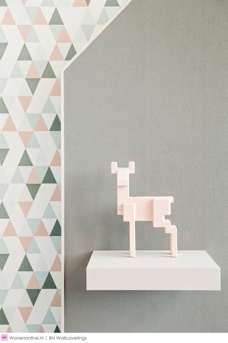 BN Wallcoverings collectie Hey - Het unieke Scandinavische gevoel met zachte tinten en modern, grafisch ontwerp is multi-inzetbaar. Het combineren van verschillende dessins binnen deze collectie kan prachtig werken.