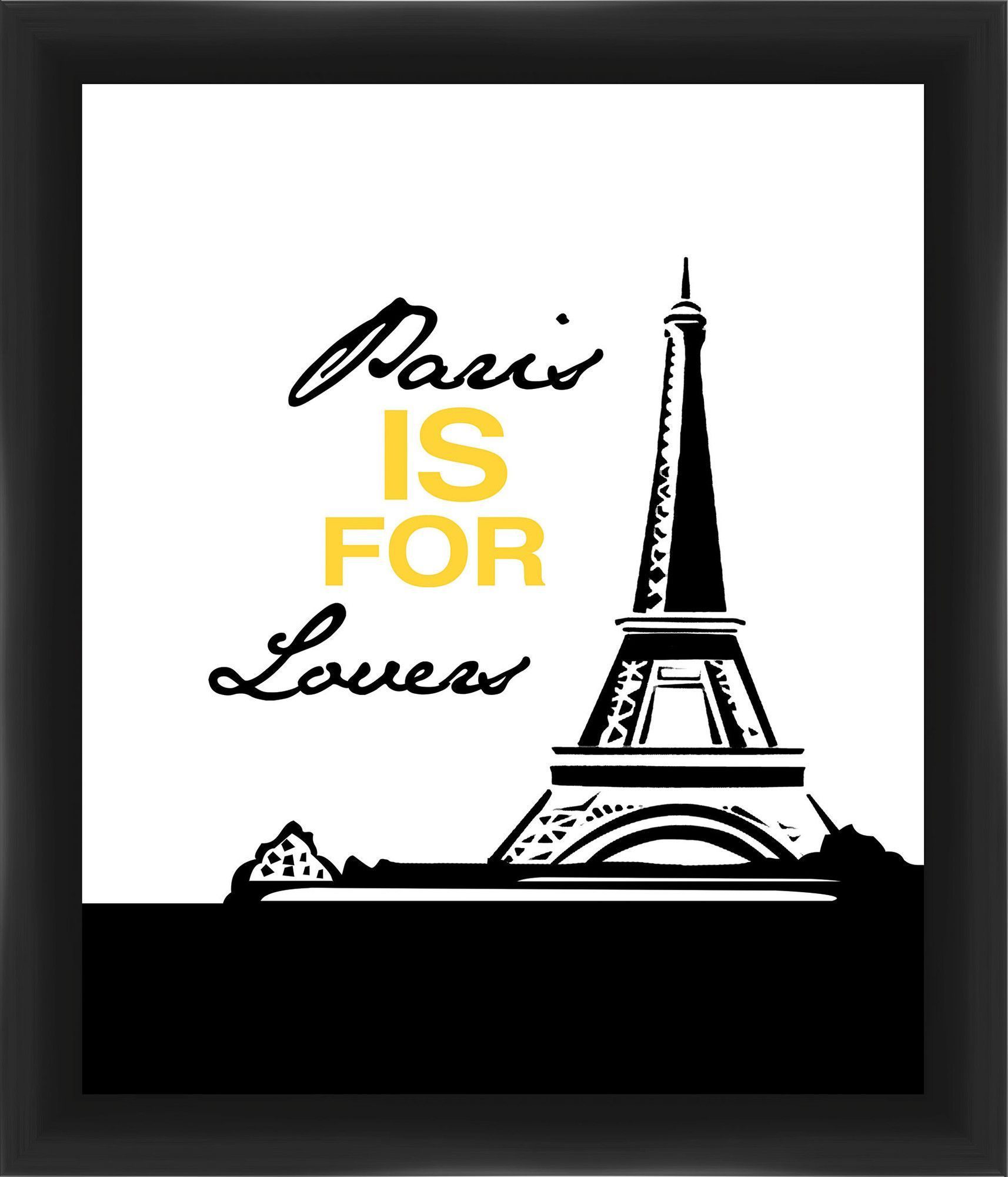 Paris Is for Lovers Giclée Framed Textual Art in Yellow