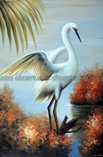 Egret Oil Paintings Egret Bird Florida Everglades Decoration