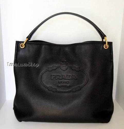 Prada Vitello Daino Black Deerskin Leather Logo Hobo Shoulder Bag Purse Ebay