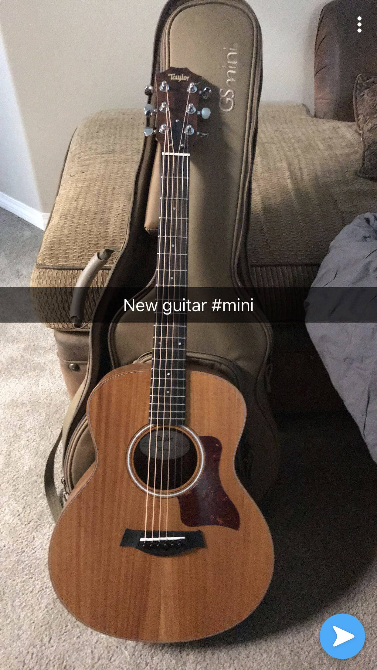 I Needed A Travel Guitar And This Mini Taylor Sounds Amazing For Its Size And Price Happy New Guitar Day To Me Guitar Mini Acoustic Guitar
