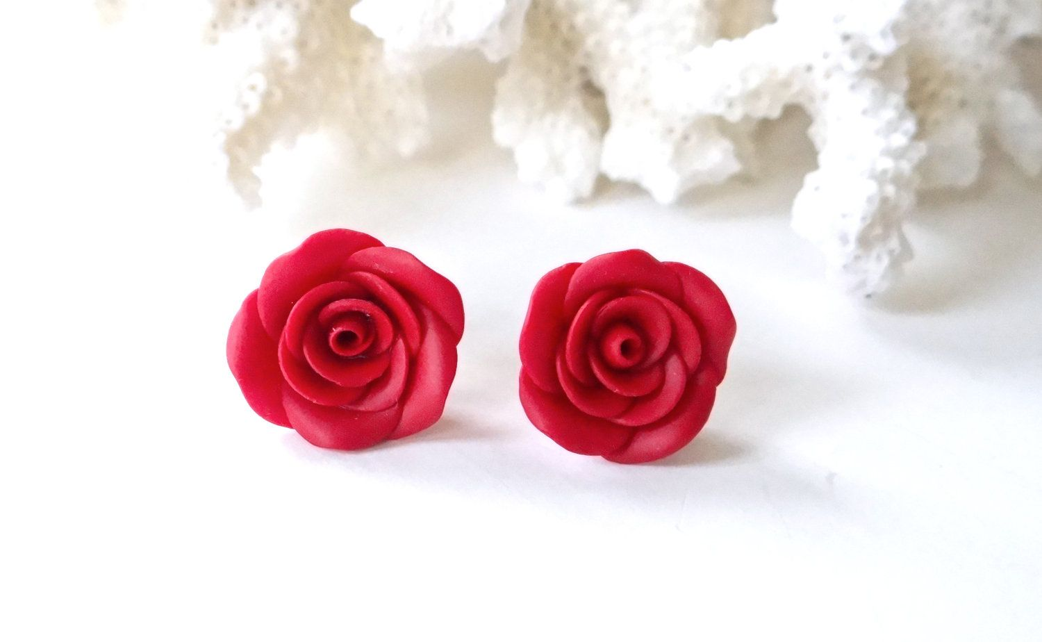Red Rose Post Earrings Red Rose Flower Jewelry Red Rose Stud Earring Red Flower Earrings Flower Earrin Red Flower Earrings Red Rose Flower Flower Jewellery
