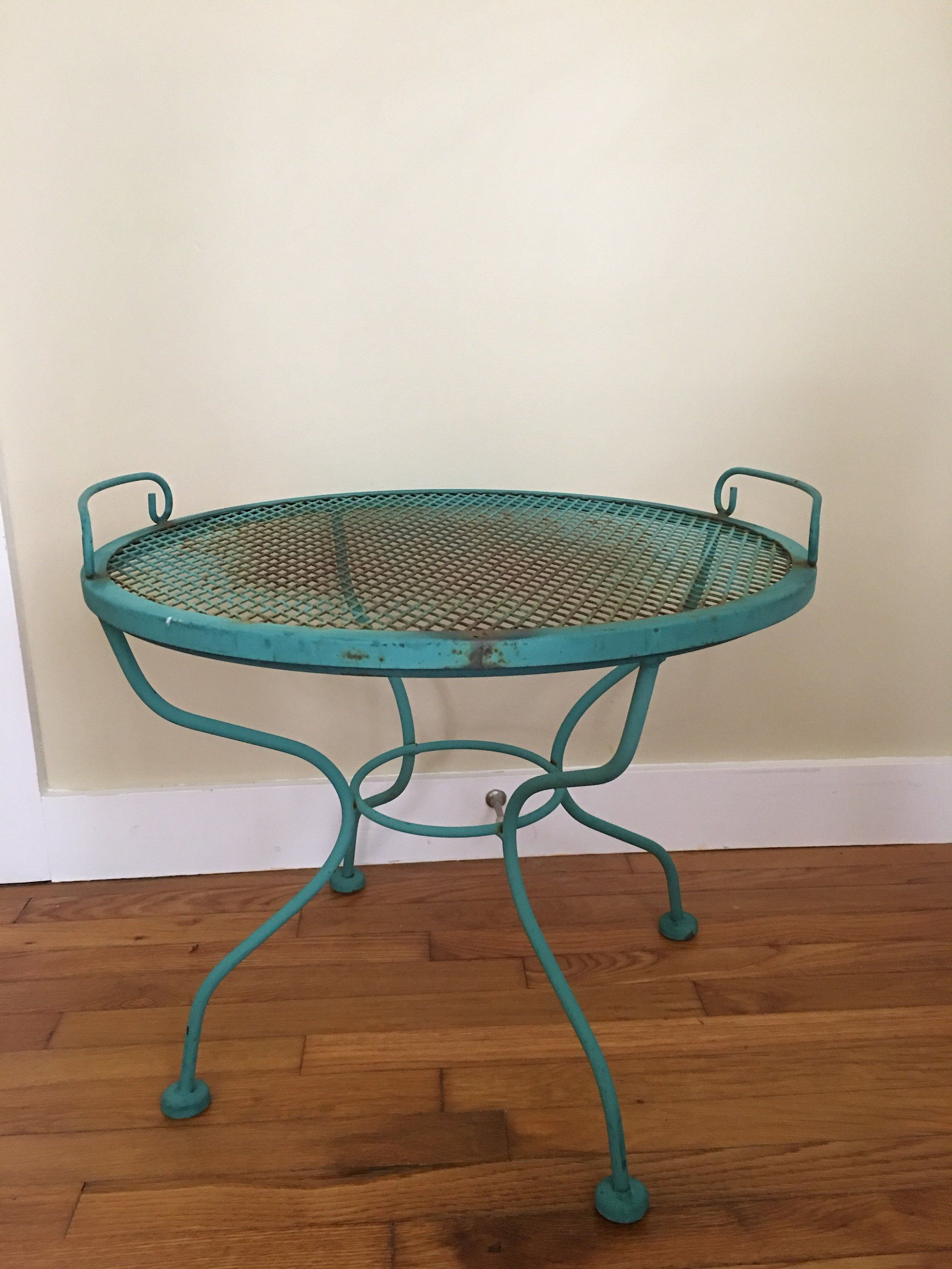 Reserved Mid Century Wrought Iron Side Table With Lift Off Tray