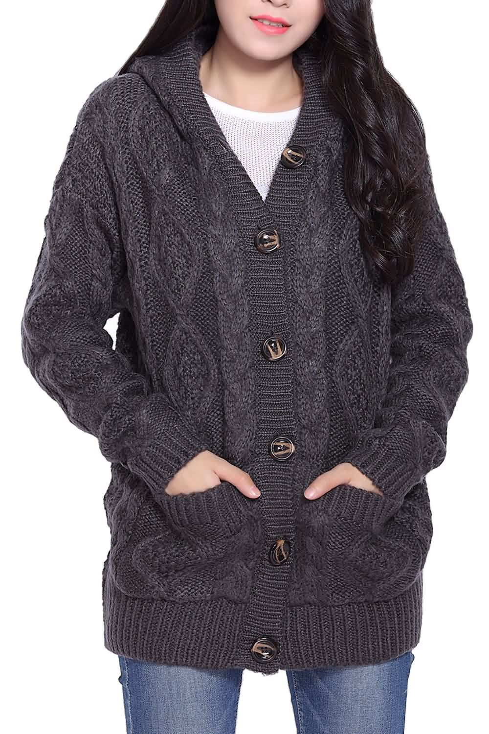 Cable Knit Hooded Cardigan | Hooded cardigan, Cable knitting and ...