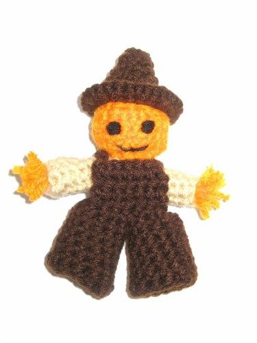 Pumpkin Head Scarecrow Finger Puppet or Decoration