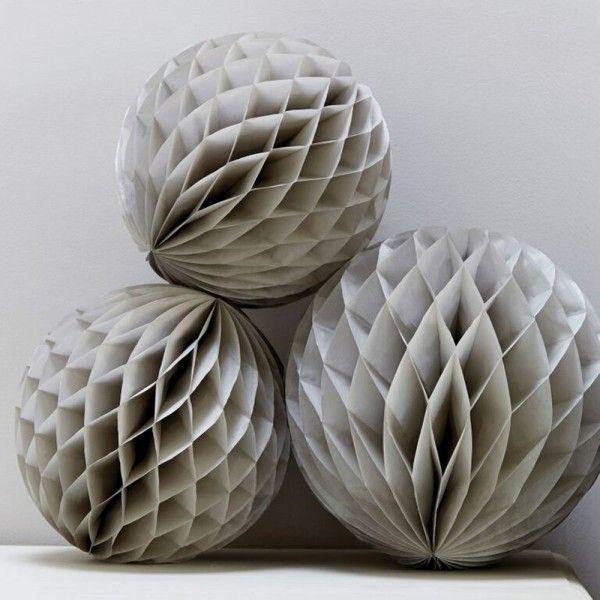 Grey Honeycomb Balls - Christmas / Wedding Decoration x 3 - Christening