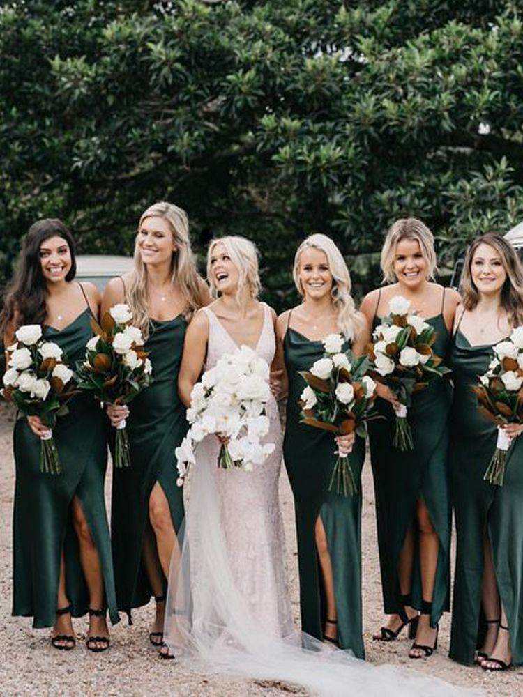 Sheath Bridesmaid Dresses With Split In 2020 Bridesmaid Dresses Ankle Length Tea Length Bridesmaid Dresses Slip Bridesmaids Dresses