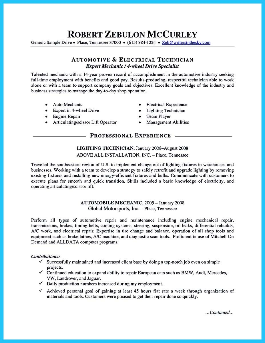 nice delivering your credentials effectively on auto mechanic resume