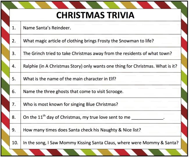graphic relating to Christmas Trivia Game Printable named Printable Xmas Trivia Match Xmas Xmas