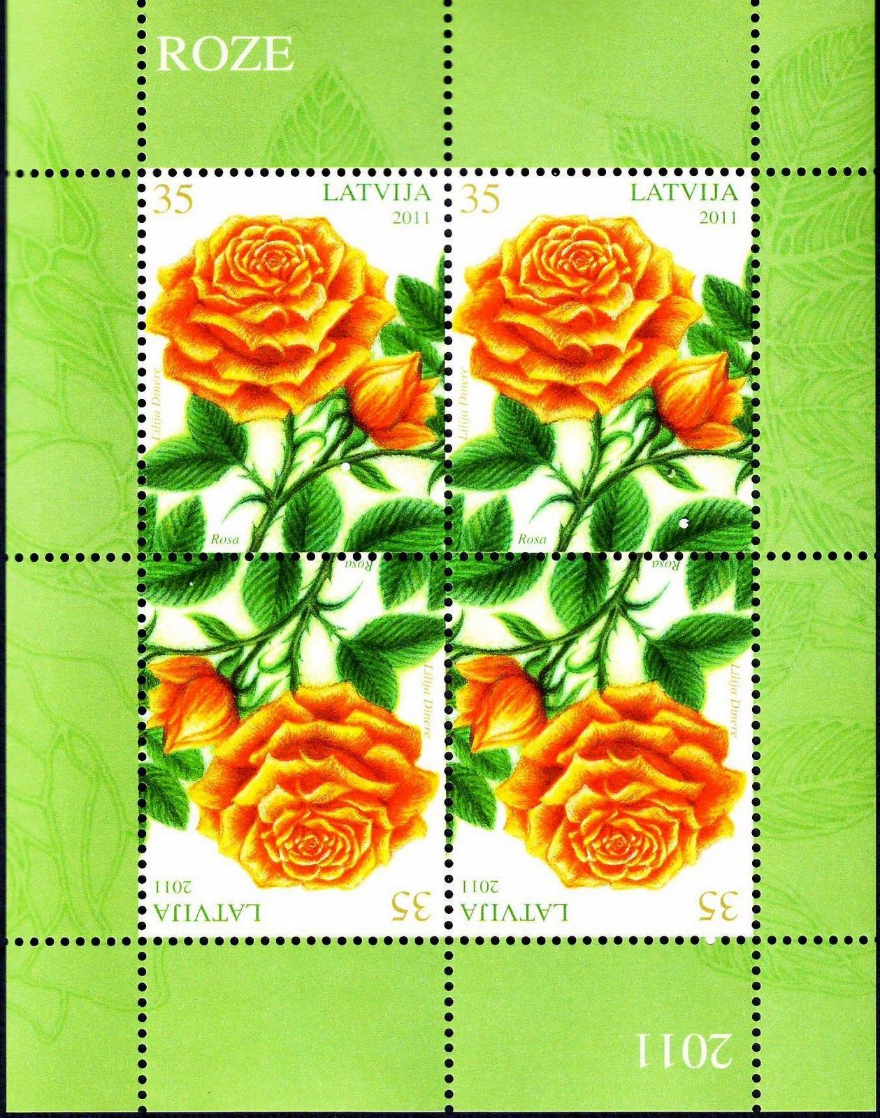 Latvia Stamps - Flowers