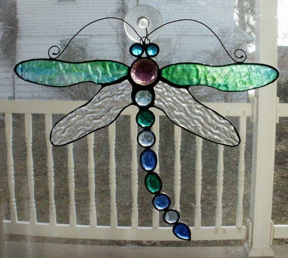 Jeweled Stained Glass Dragonfly Sun Catcher by missourijewel, $72.00