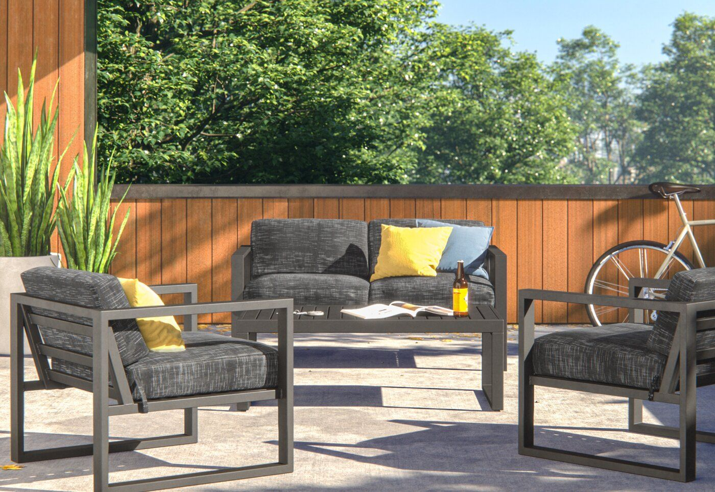 Mirando 4 Piece Sofa Set With Cushions Reviews Allmodern Outdoor Sofa Sets Seating Groups Sofa Set