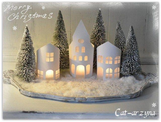 Villas navide as de papel navidad villa navide a y casitas for Villas navidenas de porcelana