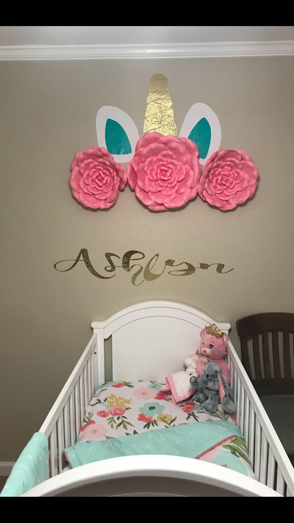 98b4706069798 Nursery themed Unicorn and Flowers | Ashlynn's room | Baby girl ...