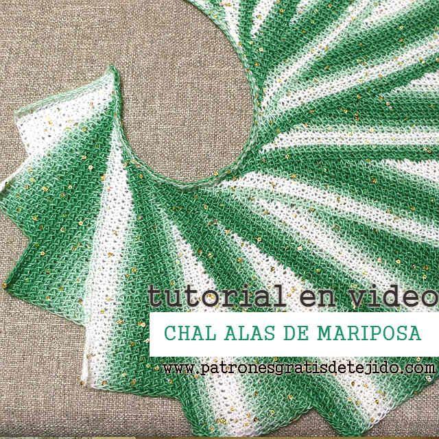 Chal Crochet Alas de Mariposa en Punto Tunecino / Video Tutorial ...